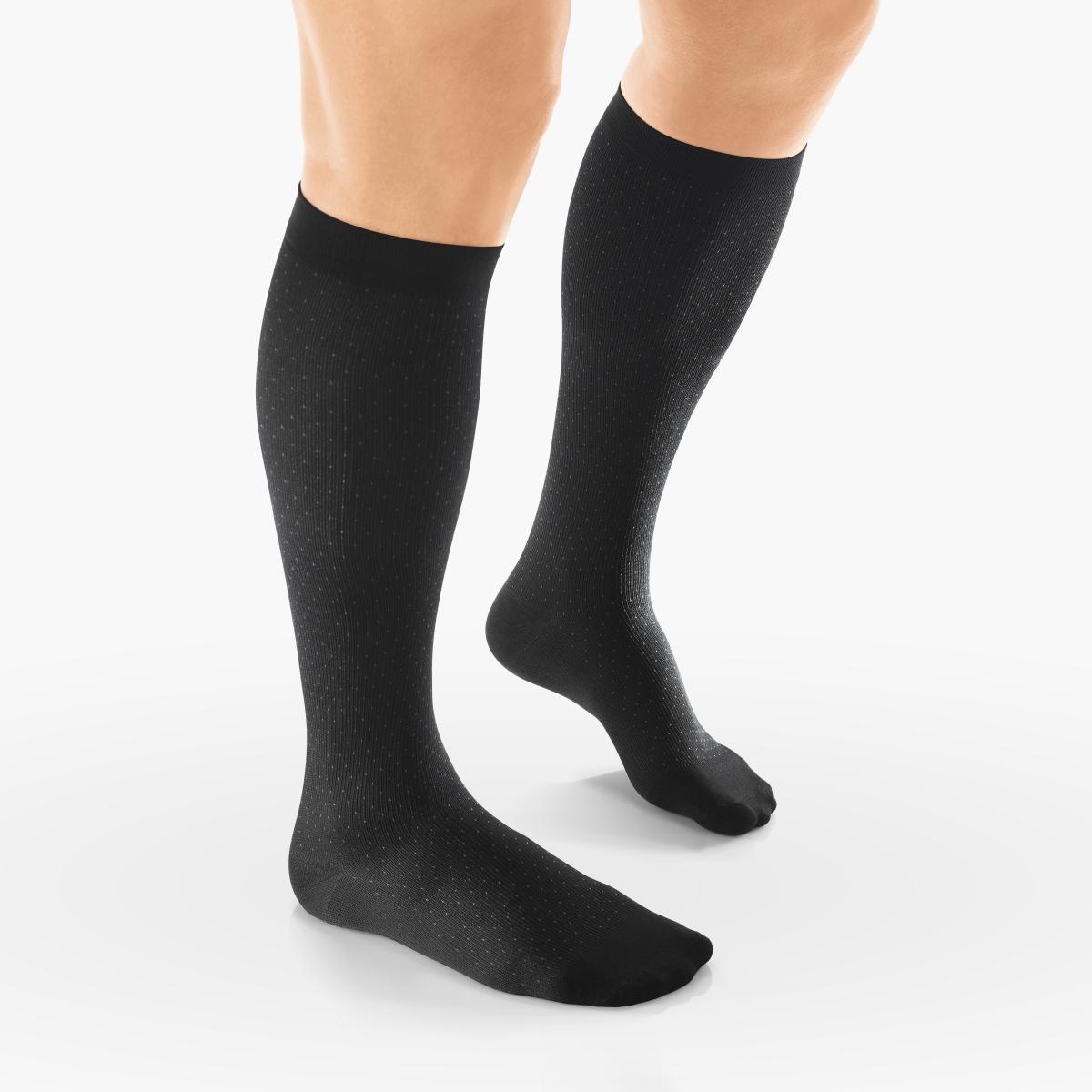 VENOSAN Sup F Men, Pin Dot,  Below Knee 15-20, Black, M Moderate 15-20 mmHg   Black   M      Closed Toe   Knit Top
