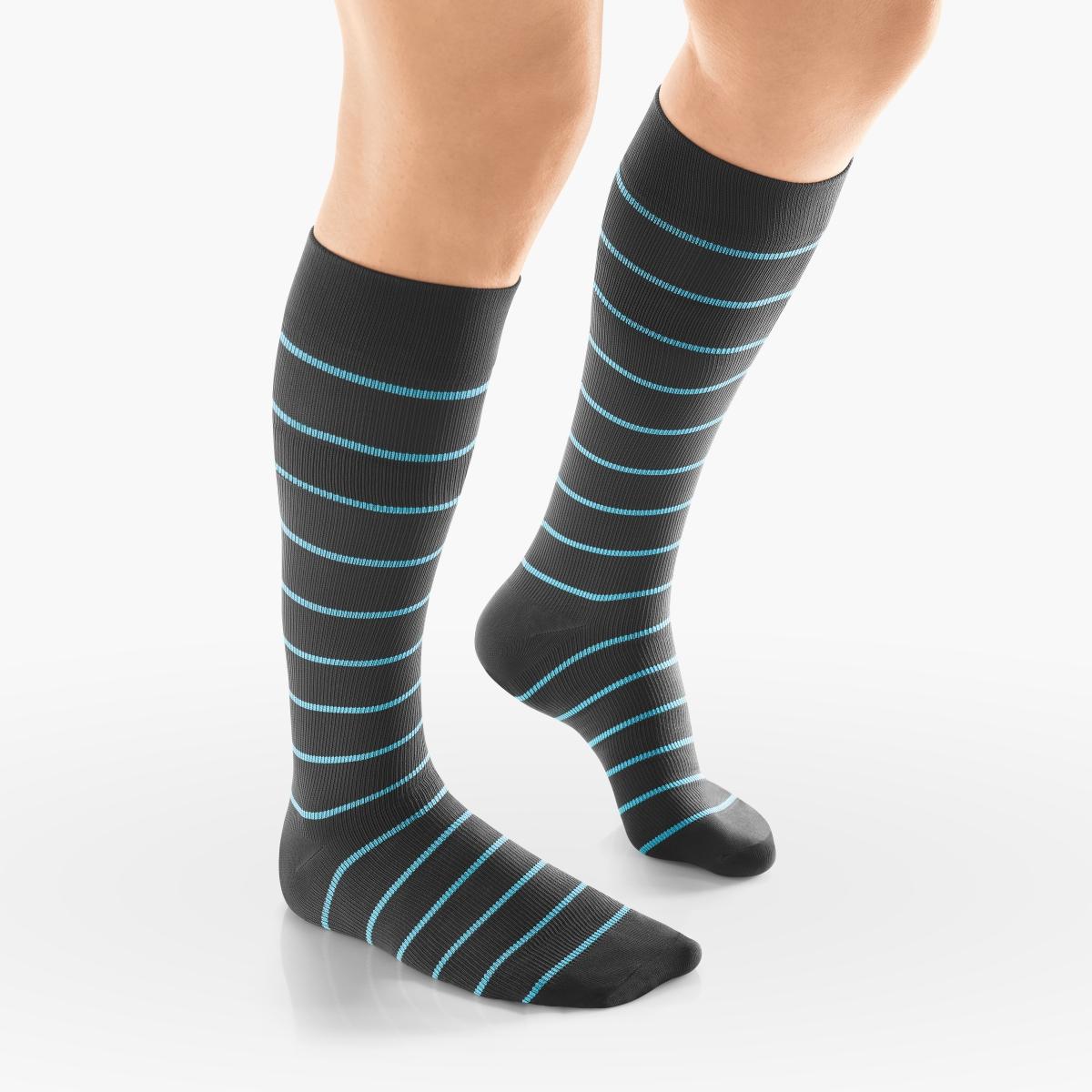VENOSAN Sup F Women, Stripe, Below Knee 15-20, Charcoal/Blue, S/M, Regular Moderate 15-20 mmHg | Charcoal/Blue | S/M | Regular | Closed Toe | Knit Top